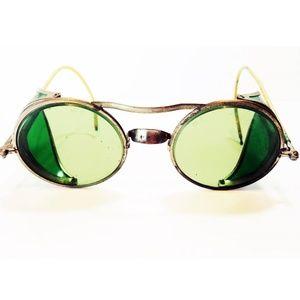 Vintage 1940s Willson Green Aviator Safety glasses